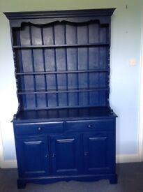 Blue painted pine dresser