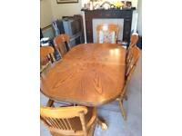 Extendable Dining Table with 6 Chairs and Matching Dresser