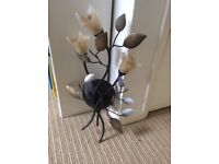 Wall Light, stunning with metal leaves and glass flowers