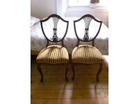 Pair of Dining or Occasional Chairs - Elegant & Unusual Balloon Back Style