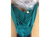 Teal silk dress