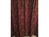 Deep red and gold curtains 90in drop