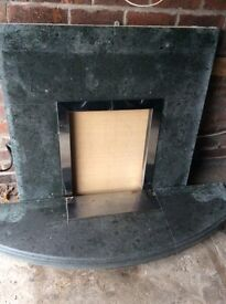 Fire place back plate and hearth
