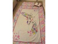 2 X girls single bed sets, curtains, cushion and bunting