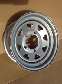 """Five steel 7 spoke wheels to suit Landrover. Mangles 16"""" x 7"""", brand new condition."""
