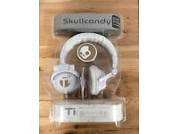 Skullcandy TI White / Gold Headphones New