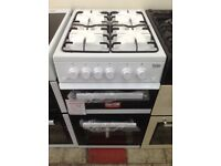 Beko 50cm double oven gas cooker. White. £239. New/graded 12 month Gtee