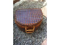 New fabulous Wiker Picnic Hamper blue & brown with all assessories