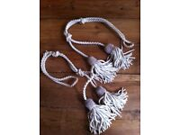Traditional rope with 4 large tassled curtain tie-backs, a pair, in cream tones