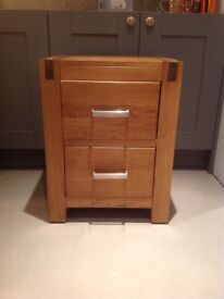 Solid Oak Two Drawer Bedside Table/Chest Perfect Condition