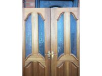"""Double internal hard wood doors part glazed to fit a gap of 4' 6"""""""