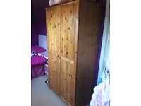 Pine double wardrobe.