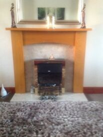 Fire surround, marble hearth. Back panel £80.00