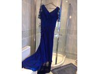 Blue lace and chiffon long dress.