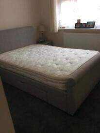"""4'6"""" 2 drawer Sleigh bed"""