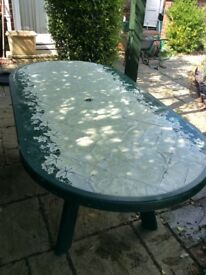 Large oval patio table.