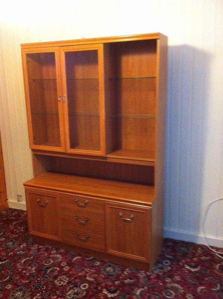 Display Cabinet With Bottom Drawer Section And Upper Glass Door