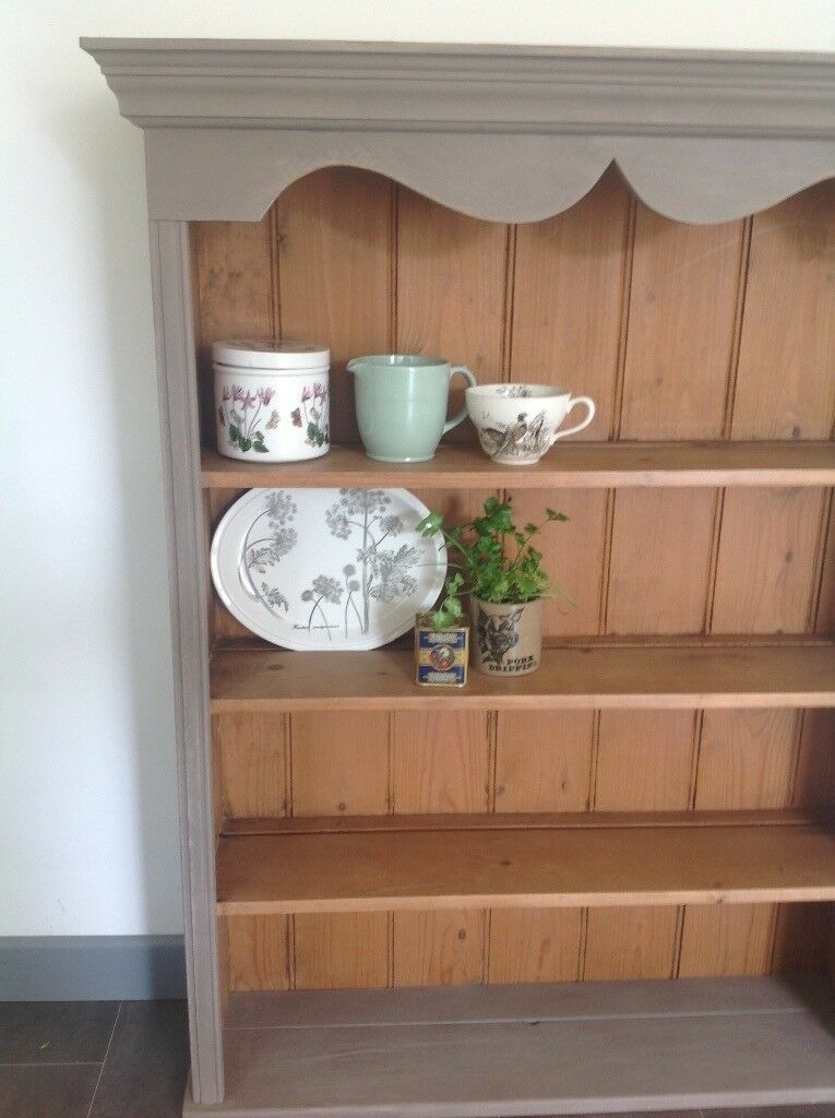 Solid pine wall unit, chalk painted