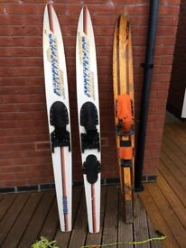 Water Skis and 2 ski tow ropes with harness