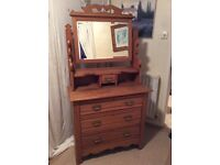 Vintage dressing table with drawers and mirror