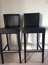 2 Faux leather black bar stools