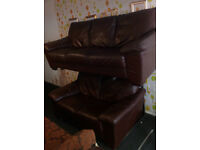 BROWN LEATHER SEATER 3 AND 2 SEATER SOFAS ULTIMATE COMFORT VIEWING WELCOME