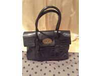 Mulberry Bayswater Croc Black Bag