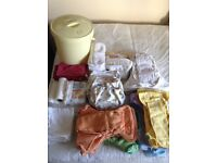 Washable nappies size 2 plus wraps and other bits