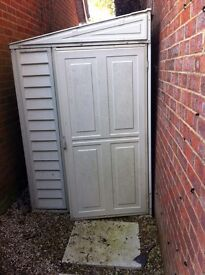 Garden lean to plastic shed