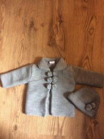 Baby knitted Pom Pom cardigan and hat