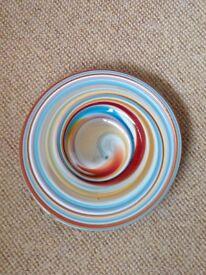 Glass spiral design dish