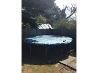 12ft trampoline frame and brand new enclosure for sale. Frame and spring ok