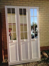 3 white mirrored wardrobe doors
