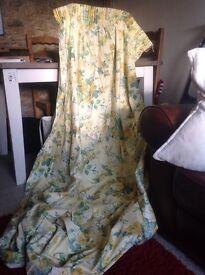 Laura Ashley yellow rose chintz curtains .