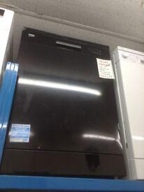 Beko full size dishwasher. Black £179. Damage on lid. New/graded 12 month Gtee