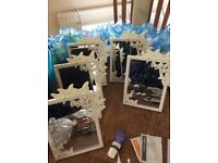 Spa party for five, blue and white theme, Face mask, Foot spa, Hawaiian necklace, mirrors