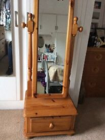 Long wood dressing mirror with draw at the bottom