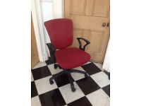 office chair/computer chair with arm rests. red fabric. very good condition ONLY £8