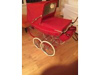 Cherry Red Silver Cross Toy pram ,comes with bag and pillow and quilt,also shopping tray.