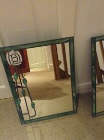 Two charles rennie mackintosh stained glass mirrors