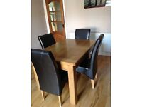 Solid Oak Extendable Table and 4 Leather Chairs