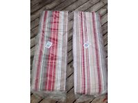 2 x new Enlister 3 seater bench cushions red stripe