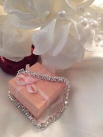 Heart crystal chain linked bracelet. Lovely gift.