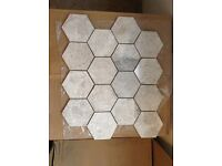 Polished natural hexagonal tiles