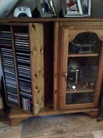 Antique pine display cabinet/cd/dvd storage