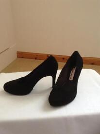 Black suede effect heels. Tamaris size 4