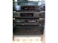 QUALITY SEPERATE SYSTEM - KENWOOD AMPLIFIER, TECHNICS CD PLAYER AND SOUND PROCESSER AND DENON TUNER
