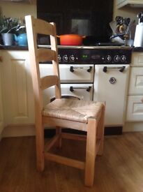 3 solid wood rustic kitchen chairs with rattan seats