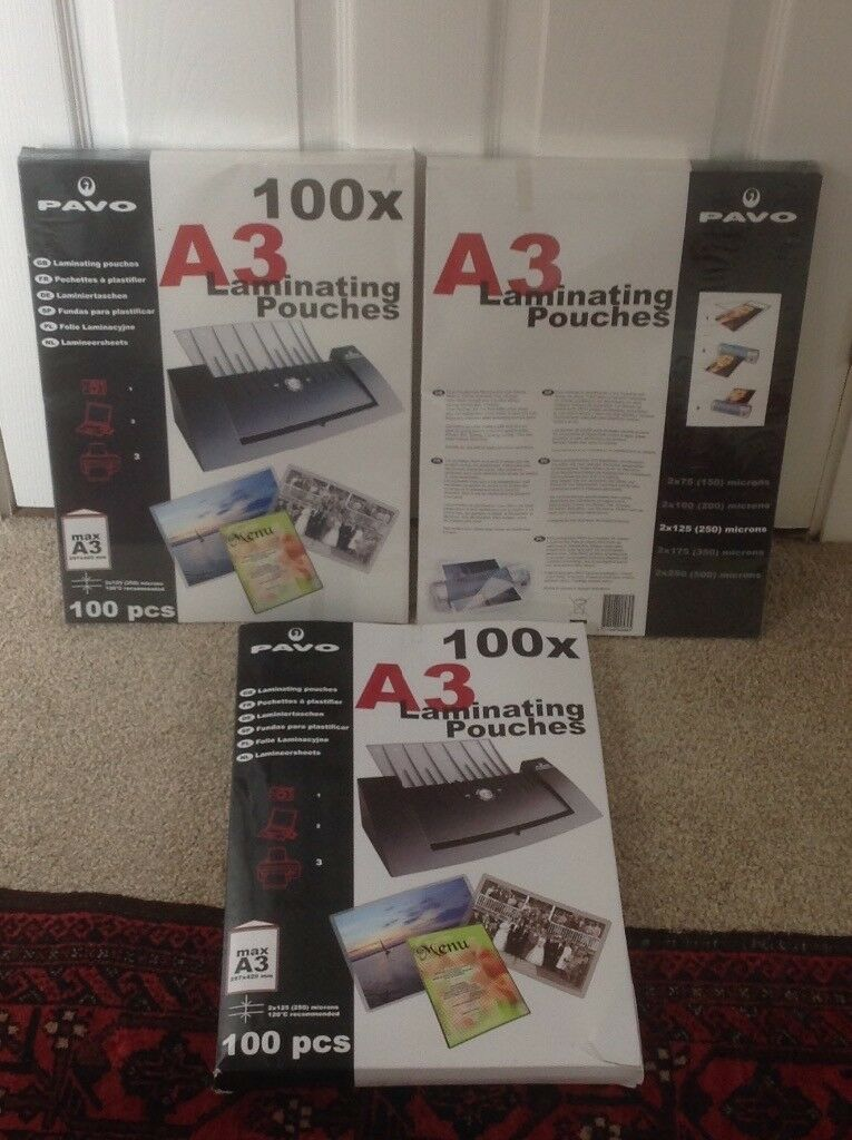 Reduced: Brand New Laminating Pouches A3 x 100 (3 packs).