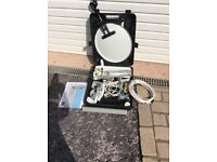 Portable satellite dish with tripod as new
